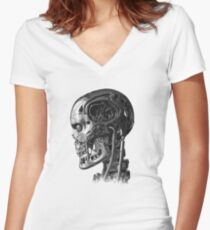 Terminator Profile Women's Fitted V-Neck T-Shirt