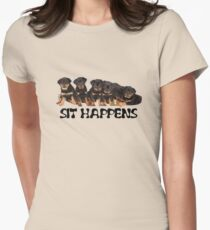 Sit Happens For Six Rottweiler Puppies T-Shirt