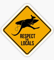 Respect the real locals. Kangaroo version. Australia surf. Sticker