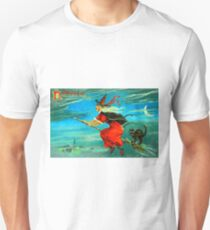 Vintage Halloween Witch Card 0002 Unisex T-Shirt
