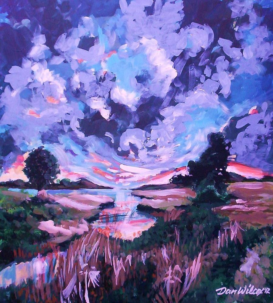 Clouds over meadow by Dan Wilcox