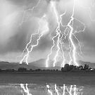 Lightning Striking Longs Peak Foothills  4CBW by Bo Insogna