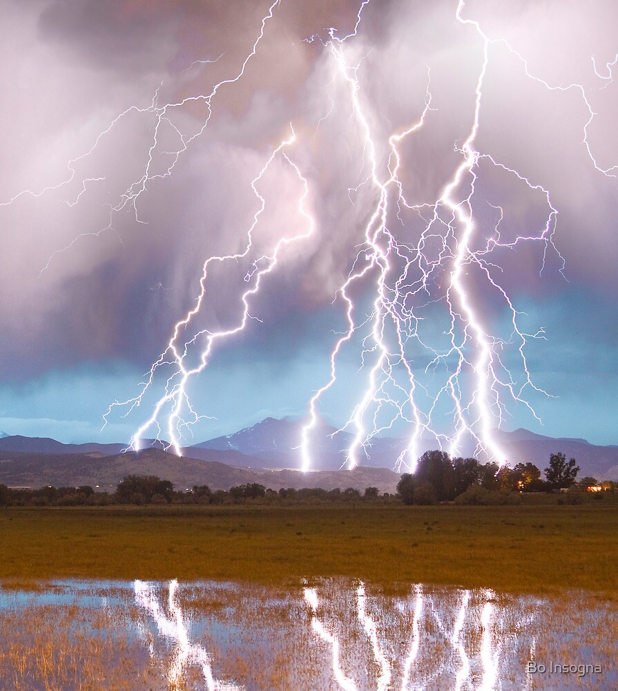 Lightning Striking Longs Peak Foothills  4C by Bo Insogna