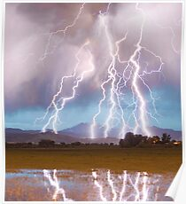 Lightning Striking Longs Peak Foothills  4C Poster