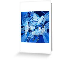 Muge's Pigeons in Blue Greeting Card