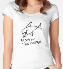 Respect the Ocean - Cool Grunge Mashup - White Version Women's Fitted Scoop T-Shirt
