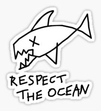 Respect the Ocean - Cool Grunge Mashup - White Version Sticker