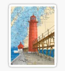 Grand Haven Lighthouse MI Nautical Map Cathy Peek Sticker