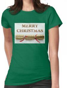 Merry Christmas Cracker in Snow Message Womens Fitted T-Shirt
