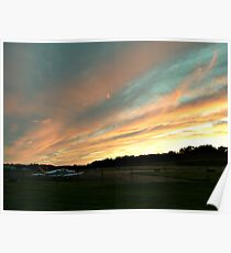 Sunset Clouds Over the Runway, Caldwell Airport, Fairfield NJ Poster
