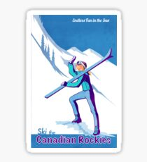 Retro Canadian Rockies Ski poster Sticker