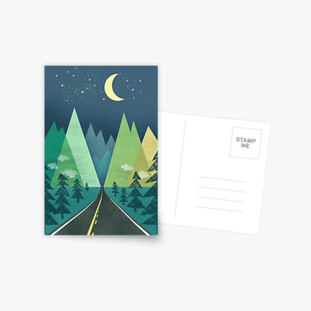 the Long Road at Night Postcard