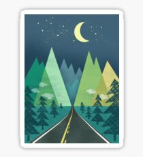 the Long Road at Night Sticker
