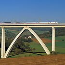 ICE train crossing viaduct, Germany. by David A. L. Davies