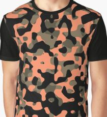 Peachy Camouflage Pattern Graphic T-Shirt