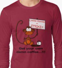 Coffee Monkey on STRIKE!! - Sticker Long Sleeve T-Shirt