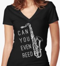 Can You Even Reed? Women's Fitted V-Neck T-Shirt