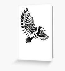 Raven Crow Shaman tribal tattoo design Greeting Card