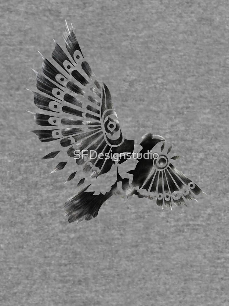 Raven Crow Shaman tribal tattoo design by SFDesignstudio