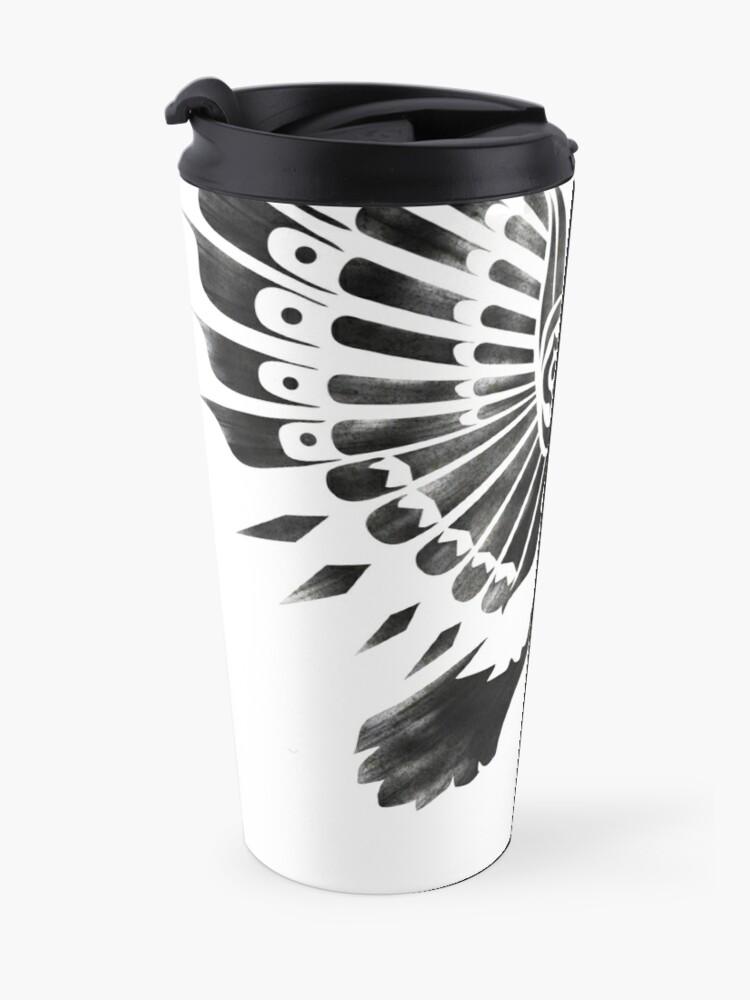 Alternate view of Raven Crow Shaman tribal tattoo design Travel Mug