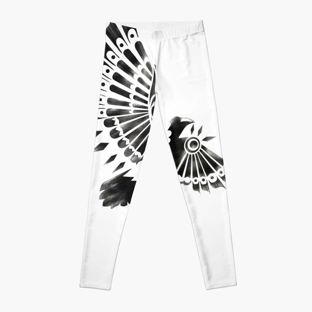 Raven Crow Shaman tribal tattoo design Leggings