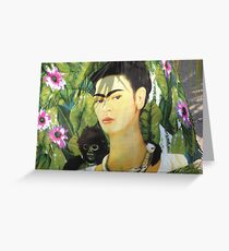 Drapery with Frida Kahlo Painting - Tela con Imagen de Frida Kahlo Greeting Card