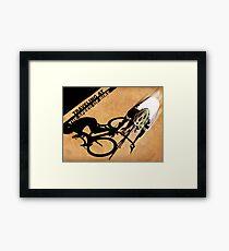 Traveling at the speed of bike retro illustration Framed Print