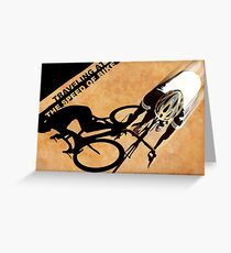 Traveling at the speed of bike retro illustration Greeting Card