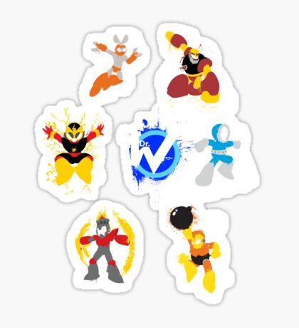Robot Masters of Mega Man 1 Splatter Art Sticker