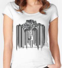 UNZIP THE CODE barcode graffiti print illustration Women's Fitted Scoop T-Shirt