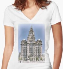 The Liver Building - Hand tinted effect Women's Fitted V-Neck T-Shirt