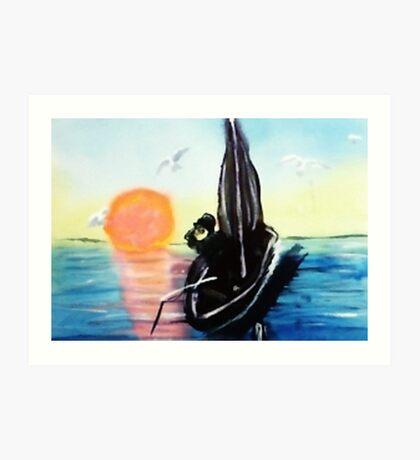 Watching sunset. watercolor Art Print
