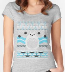 Totoro Knitted Neighbor Women's Fitted Scoop T-Shirt