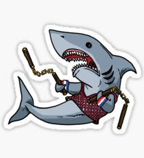 Shark with Nunchucks Sticker