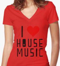 i love house music Women's Fitted V-Neck T-Shirt