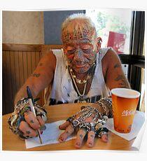Tatto man at McDonalds Poster