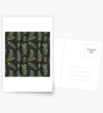 Watercolor pine branches pattern on black background Postcards