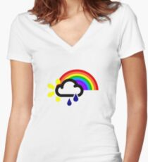 A chance of rainbows Women's Fitted V-Neck T-Shirt