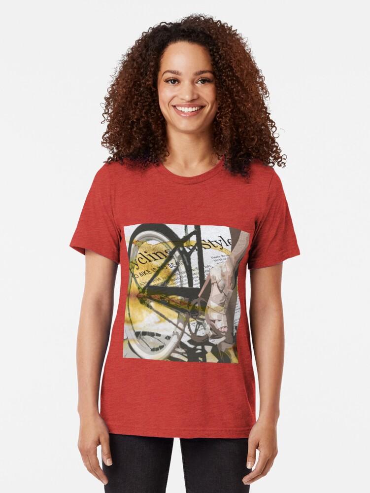 Alternate view of retro BICYCLE URBAN CHIC print Tri-blend T-Shirt