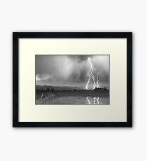 Lightning Striking Longs Peak Foothills 6BW Framed Print