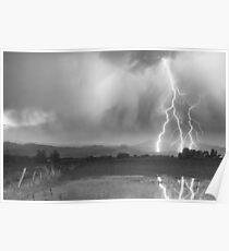 Lightning Striking Longs Peak Foothills 6BW Poster