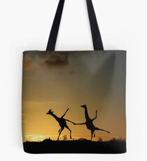Happy Dancing Giraffes Tote Bag