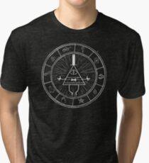 Gravity Falls Bill Cipher - White on Black Tri-blend T-Shirt