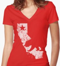 Vintage California State Outline Women's Fitted V-Neck T-Shirt