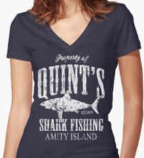 Quints Shark Fishing Amity Island Women's Fitted V-Neck T-Shirt