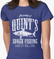 Quints Shark Fishing Amity Island Womens Fitted T-Shirt
