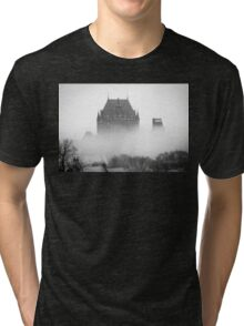 A Foggy Morning engulfs Chateau Frontenac Black and White Tri-blend T-Shirt