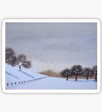 Rural snow scene landscape art for christmas  Sticker