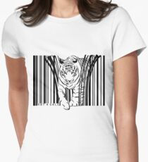 endangered TIGER BARCODE illustration Women's Fitted T-Shirt