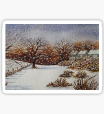 snow scene with snow covered trees and cottages painting  Sticker